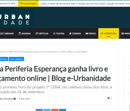 Saiu na mídia - Peça Periferia Esperança ganha livro e lançamento online